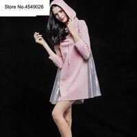 Женское весенне осеннее клетчатое лоскутное платье с длинным рукавом и капюшоном 2019 свободное розовое короткое платье Пот Повседневные пл