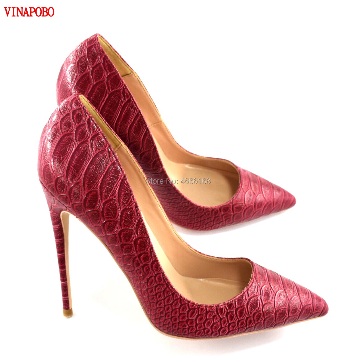 Vinapobo Brand Red Snake Pattern Print pumps Sexy Women Pointed Toe Stiletto High Heels Ladies Slip