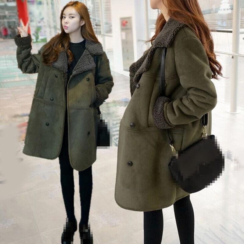 Fashion 2018 Autumn Winter Women Long   Suede   Coat Pocket Long Sleeve Faux   Leather   Jacket Lambs Female Warm Plus Size Coat