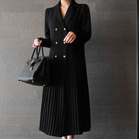 SHENGPALAE 2018 Autumn Korean New Black Double Breasted Pleated Full Sleeve V Collar Loose Fashion Mid calf Dress Women OA504