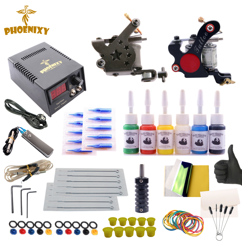Tattoo Kit Professional Tattoo Machine 2 Coil Guns Tips Kit 6Pcs Immortal Inks Complete Permanent Makeup Art Supplies Grips SetTattoo Kit Professional Tattoo Machine 2 Coil Guns Tips Kit 6Pcs Immortal Inks Complete Permanent Makeup Art Supplies Grips Set