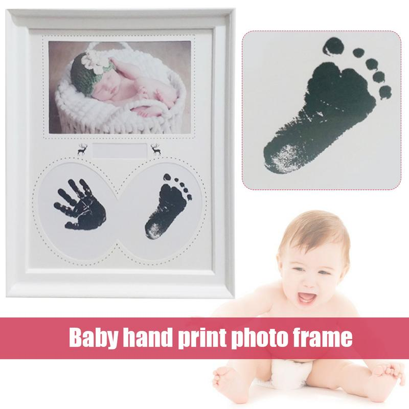 Baby Newborn Non-Toxic Handprint Footprint Photo Frame Kit Baby Souvenirs Casting Clay Print Newborn Ink Pad Toy