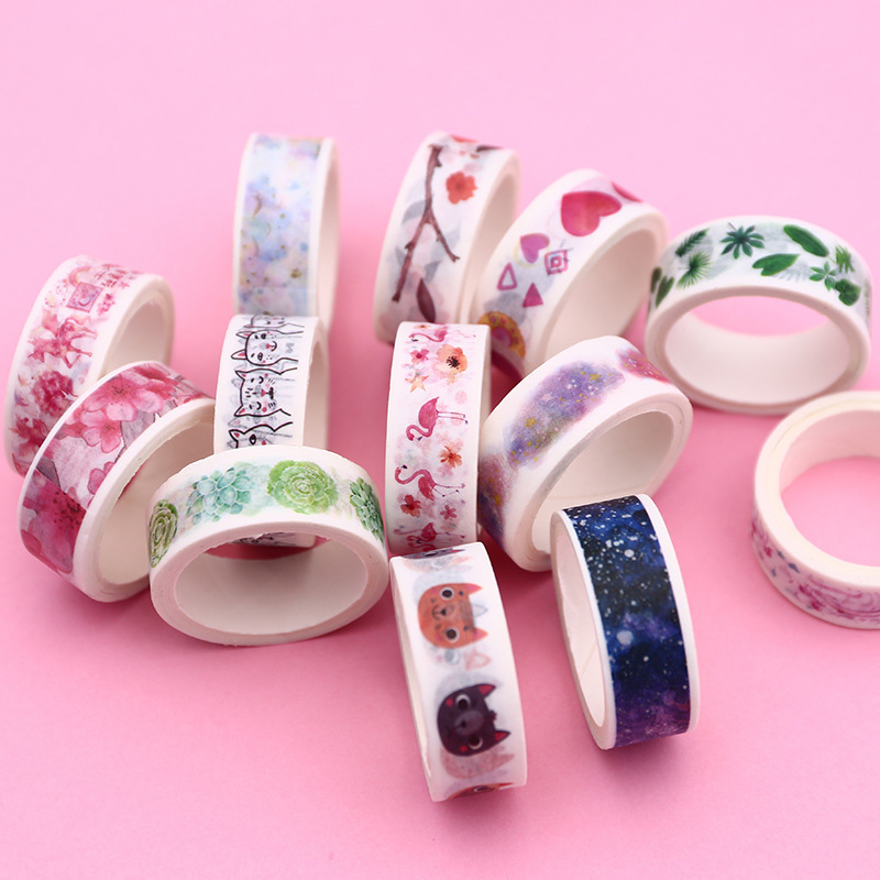 1PC Decorative Adhesive Tape  Cute Cat Washi Tape Kawaii Flamingo Masking Tape For Kids DIY Scrapbooking Diary Photos Album