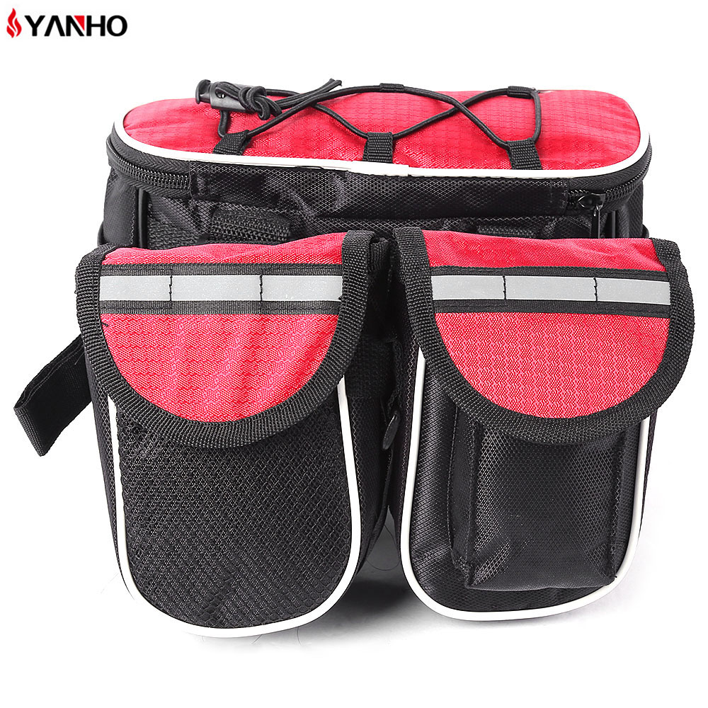 <font><b>YANHO</b></font> <font><b>Bike</b></font> <font><b>Bag</b></font> Magic Tape Cycling <font><b>Bags</b></font> Folding Packet Pouch Cycling Accessories With Rainproof Cover Reflective Stripes image