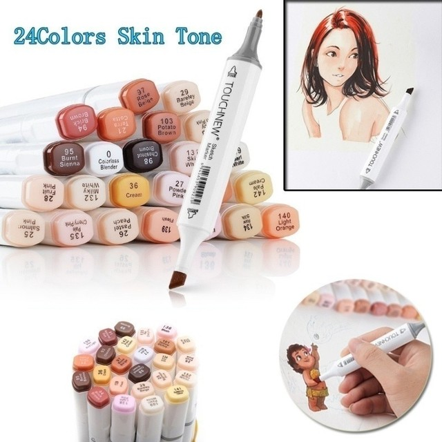 TOUCHNEW 12/24 Colors Alcohol Markers Pens Blendable Skin Color Marker  Brush for Manga Drawing Pen