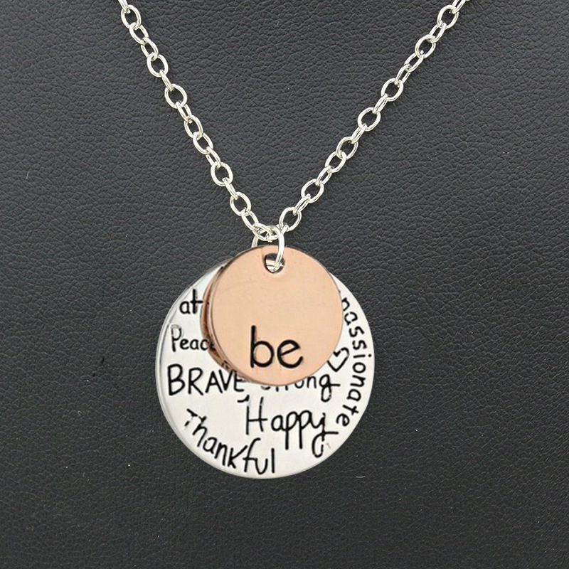 Hotest Round Pendant Necklace Gold Silver Two Tone Disc