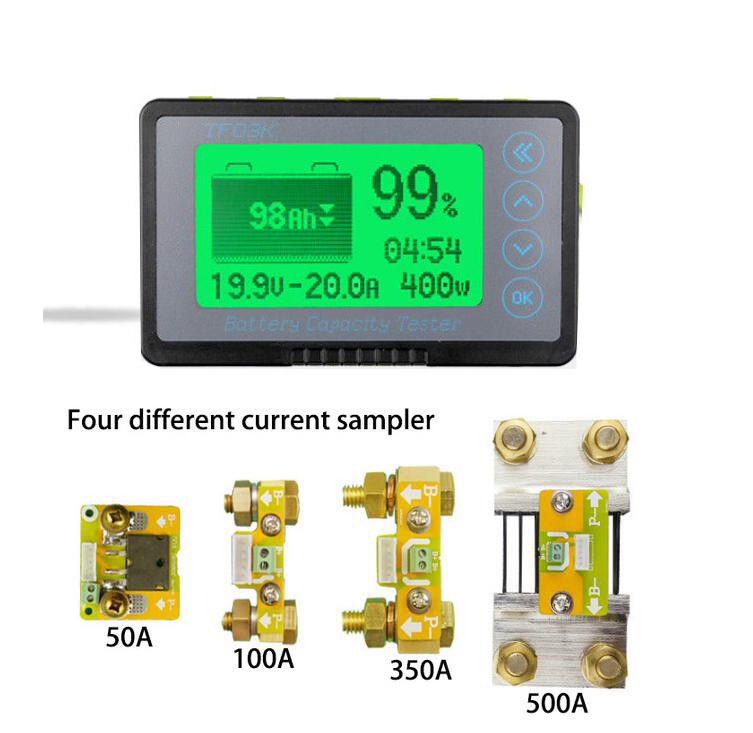DC 500A Coulomb Meter Battery Monitor Remaining Capacity Indicator Voltage Current POWER Lithium Lifepo Lead Acid 12v 24V Test