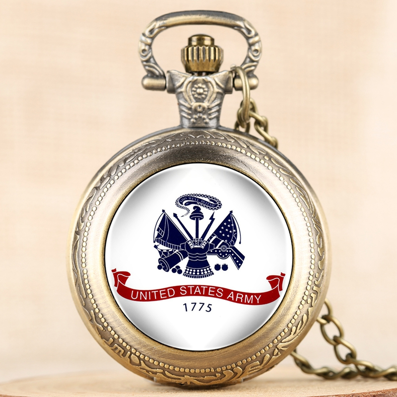 USA Military United States ARMY Theme Bronze Gold Round Quartz Pocket Watches Creative Military Men Women Gifts As Collectibles