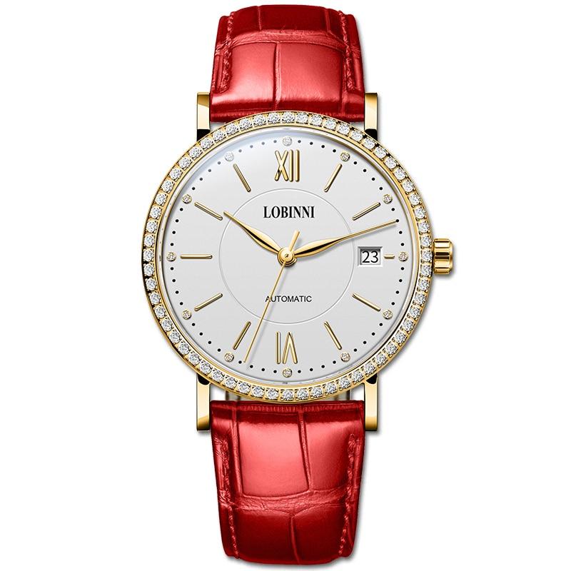 Zwitserland LOBINNI Horloge Vrouwen Luxe Merk Miyota Automatische Mechanische Horloges Saffier Waterdicht Dames Horloges L12025-in Dameshorloges van Horloges op  Groep 3