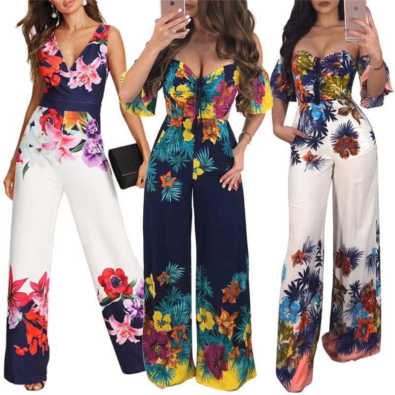 Jumpsuit 2019 Women Ladies Floral Printed Wide Legs Trousers Off Shoulder Holiday Bodycon Jumpsuit Sexy V-neck Romper Clubwear