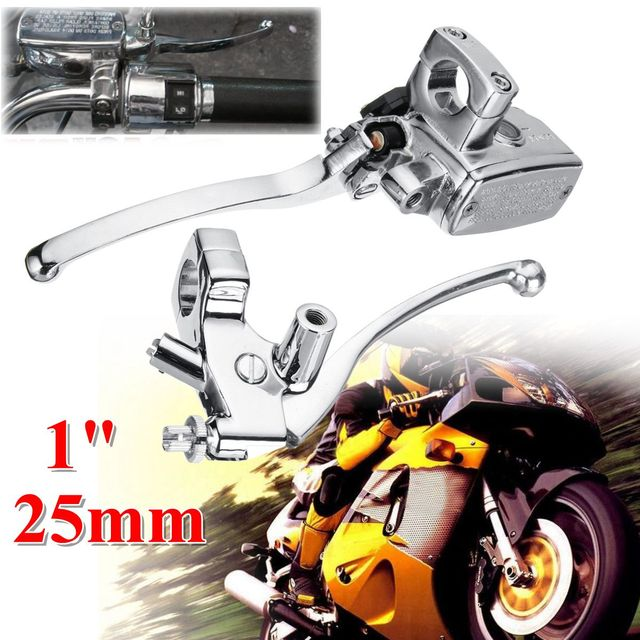 2pcs Left Right 1inch 25mm Motorcycle Handlebar Hydraulic Brake Clutch Lever Master Cylinder Universal Aluminum Alloy