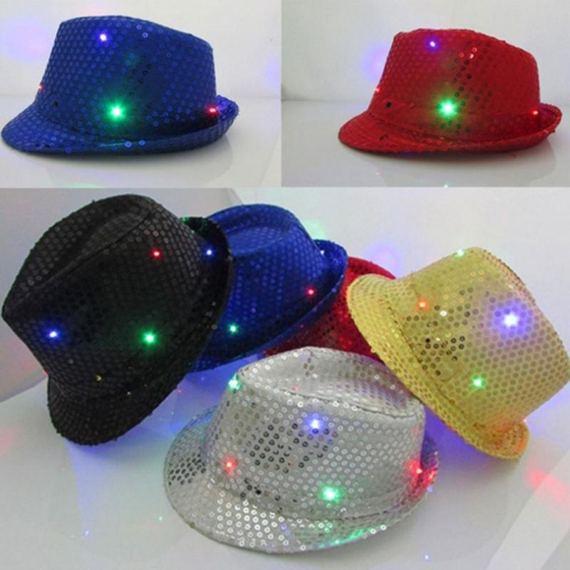 Lights Falshing Cowboy Caps Party Bar Flashing Light up LED Cap Fedora  Trilby Sequin Hat MJ Dancing Hats-in Cowboy Hats from Apparel Accessories  on ... 00febcb259e4