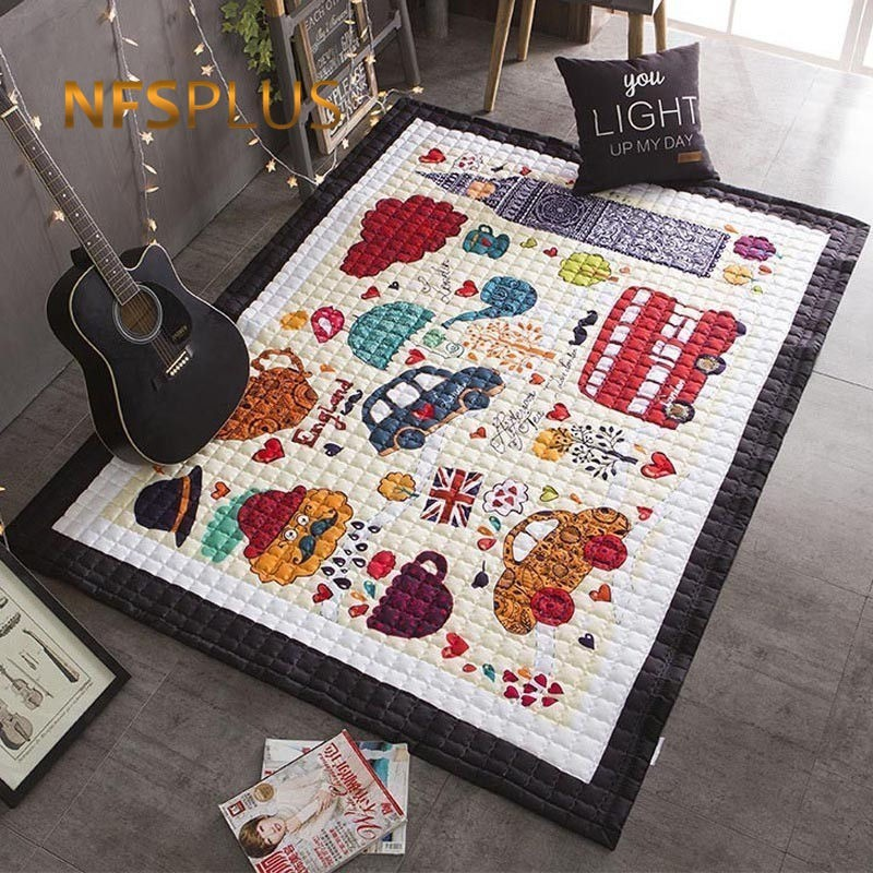 Baby Play Floor Mat 145x195cm London Element Printing 1 5cm Thick Multipurpose Warm Quilt Area Rug