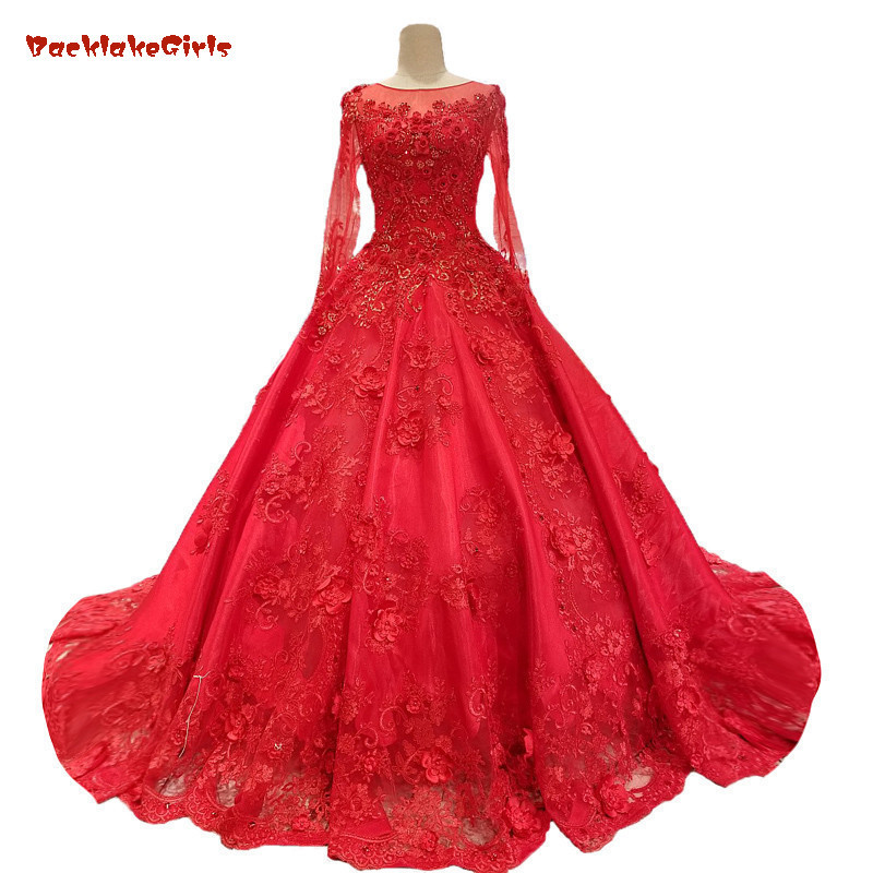 2018 Red Tulle Long Sleeves Vintage Wedding Dress Cathedral Train Ball Gown Bridal Gowns Vestido De Noiva Real Photos
