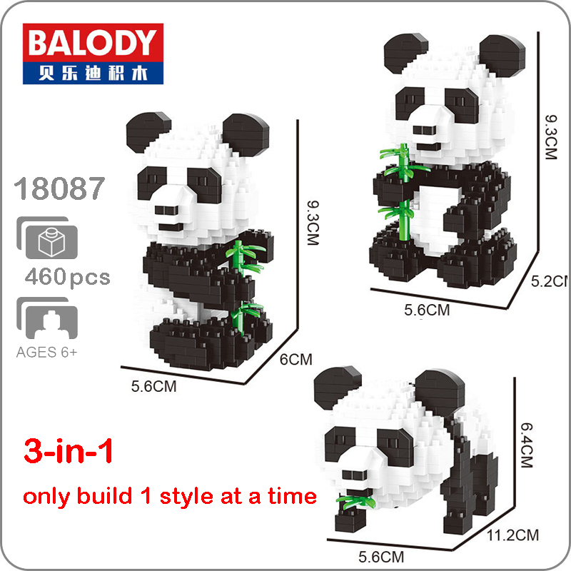 Balody 18087 3-in-1 Cartoon Panda Animal Bamboo 3D Model DIY Diamond Micro Mini Building Nano Blocks Bricks Assembly Toy no BoxBalody 18087 3-in-1 Cartoon Panda Animal Bamboo 3D Model DIY Diamond Micro Mini Building Nano Blocks Bricks Assembly Toy no Box