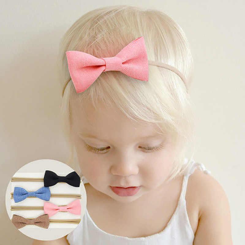 4 st Meisjes Baby Hoofdbanden Pasgeboren Baby Peuter Hoofddeksels Solid Bow Bloem Haarband Accessoires Headwears Schattige Prinses 2019 Nieuwe