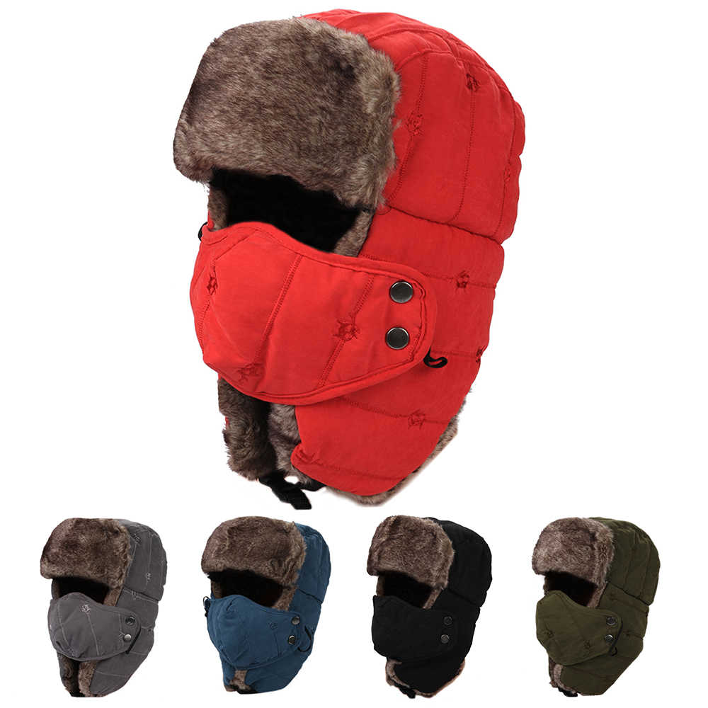 Winter Trooper Hat Windproof Hiking Caps Hunting Climbing Skating Hat Women Men Waterproof Warm Hat with Mask Ear Flaps