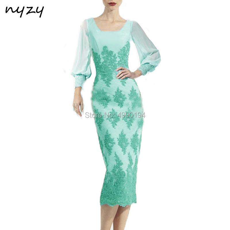 NYZY C23 New Arrival Robe Cocktail Dress Lace Appliques Beaded Mermaid Long Sleeve Evening Dress Short Vestido Coctel 2019