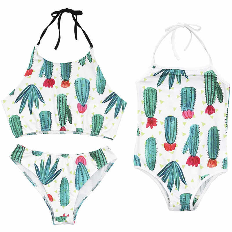 726703008260 Family Matching Swimwear Mommy And Me Clothes Mother Daughter Cactus  Printed Halter Swimsuit Parent-child