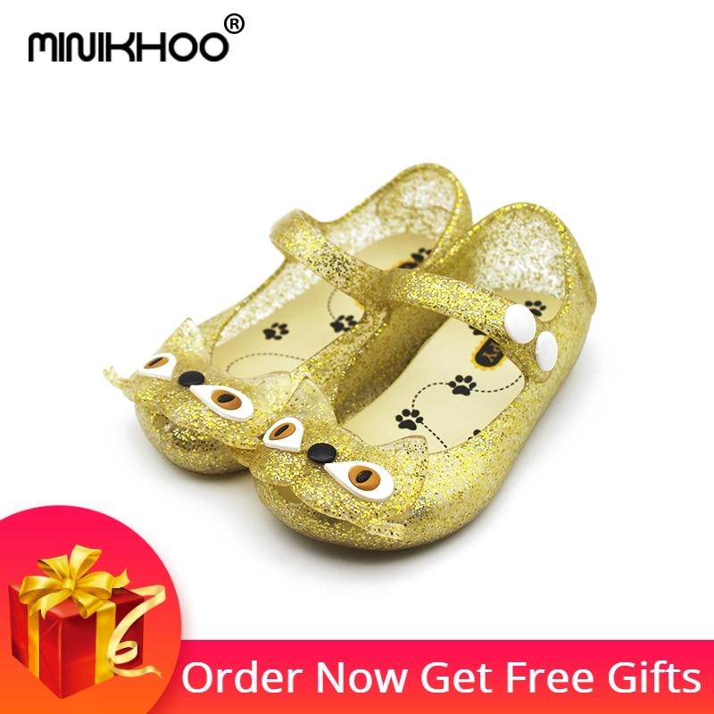 Mini Melissa Golden Cat Jelly Sandals Summer Girls Sandalias 2017 - Zapatos de niños