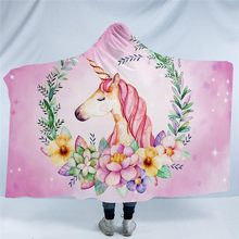 Fashion Cartoon Unicorn Cool Wearable Throw Blanket Winter Soft Warm Fleece Fabric Bedding Sofa Hoodie Blanket 130*150/150*200cm(China)