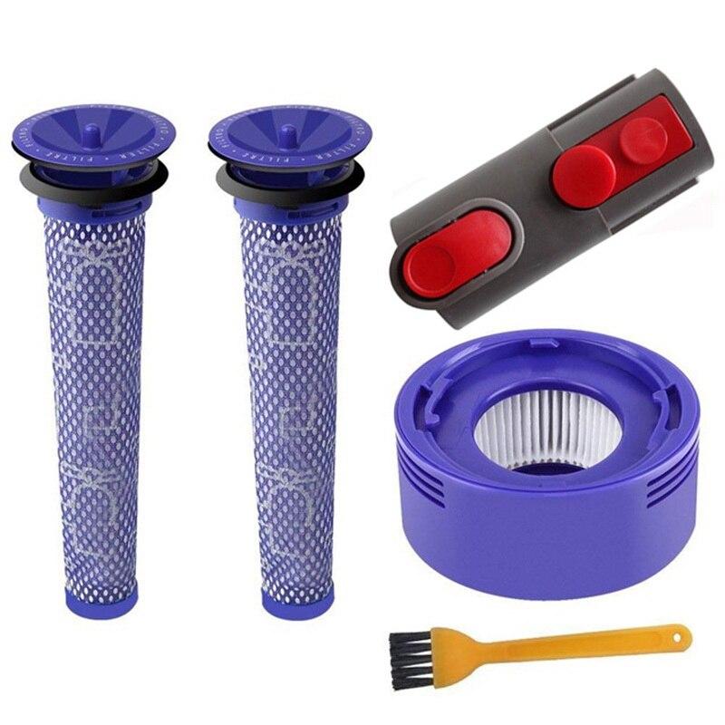 Vacuum Cleaner PartsPre Motor Washable Hepa Filter & Back Post Adapter For Dyson V 7 8 clean brush black blue