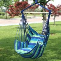 130*100cm Garden Swing Chair Hammock Outdoor Hanging Rope Striped Chair Swing Seat with 2 Pillows