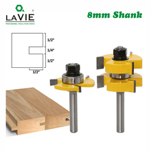 Lavie 2 pçs 8mm haste língua groove junção roteador bits t slot montar fresa para madeira ferramentas de corte para trabalhar madeira mc02054