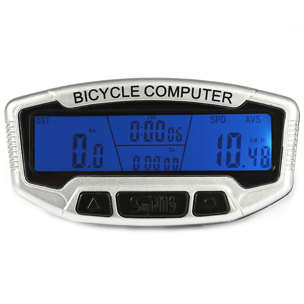 SunDing SD - 558A Wired Bicycle Computer Water Resistant Cycling Odometer Speedometer with LCD Backlight