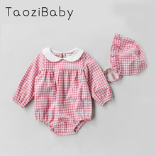 2018 spring Girls Baby Clothes Spring Hooded Jumpsuit Cotton Romper Suit Newborn Climbing Baby Girl Summer Clothes with hat