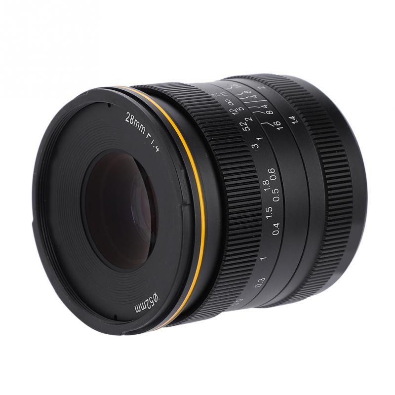 Kamlan 28mm f1.4 szeroki kąt APS C duża przysłona ręczne fo cus obiektyw do kamery lustra nowy 2018 profesjonalne wysokiej jakości w Obiektywy do aparatu od Elektronika użytkowa na  Grupa 1