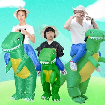 3D Stand Riding Inflatable Dinosaur Costume Halloween Dress Cosplay Suit Horse Cowboy Costume for Kids Adult Party Prop Supplies
