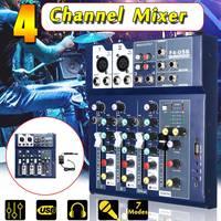 Мини 4-канальный USB портативный Миксер для студий с живым звуком аудио DJ Sound микшерный пульт 48 V усилитель для караоке ktv матч вечерние речи