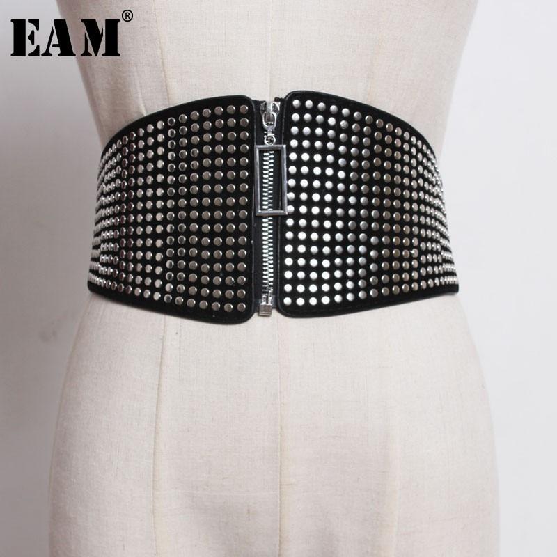 [EAM] 2020 New Spring Summer High Elastic Waist Black Rivet Split Joint Zipper Wide Belt All-match Women Fashion Tide JO084