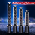 NIEUWE 3/4/5/6 power EU Plug Keuken Tafel Stopcontact Power 1 Led + 2 lading USB Aluminium Plank Zilver/Zwart Cap