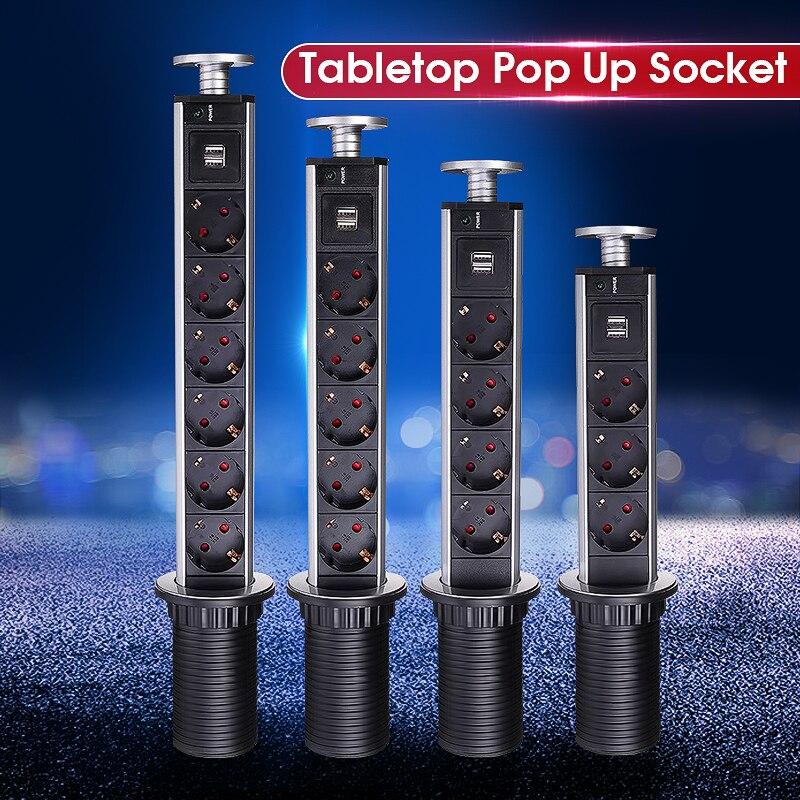 Nuevo 3/4/5/6 enchufe de la UE de la mesa de cocina eléctrica zócalo Led 1 + 2 USB de carga de aluminio de plata/Negro Tapa
