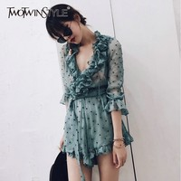 TWOTWINSTYLE Ruffles Polka Dot Playsuits Women V Neck Lace Up Long Sleeve Perspective Sexy Jumpsuits Female 2019 Summer Fashion