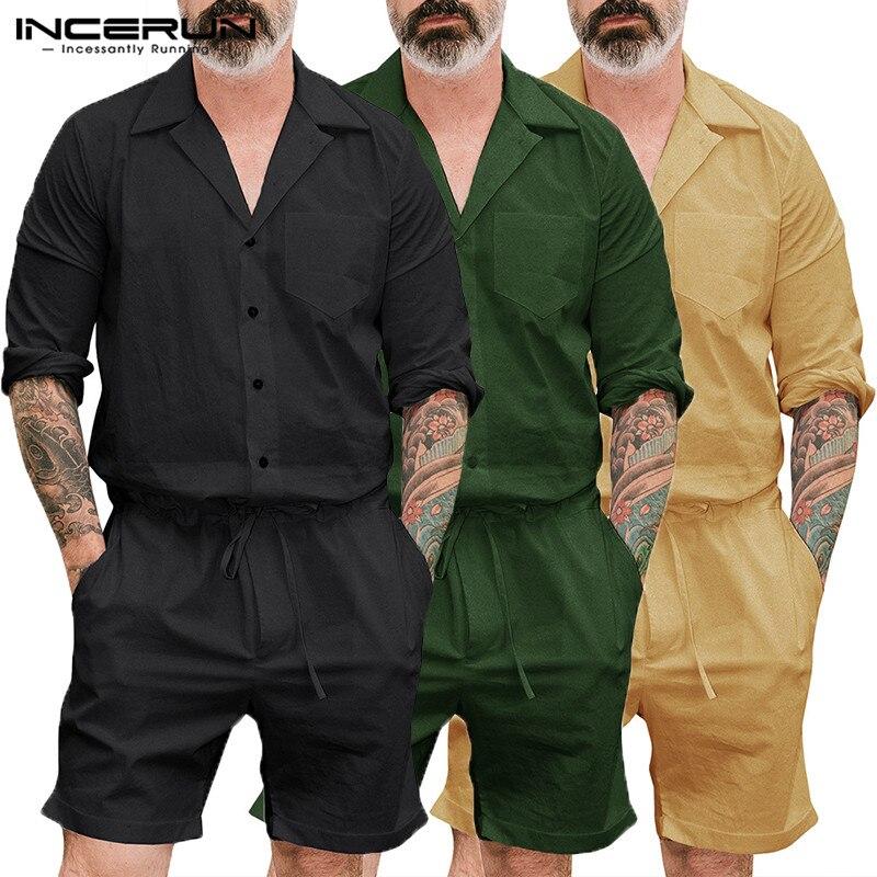 INCERUN 2019 Fashion Men Rompers Long Sleeve Pockets Jumpsuit Pants Solid Loose Streetwear Playsuit Men Retro Men Cargo Overalls