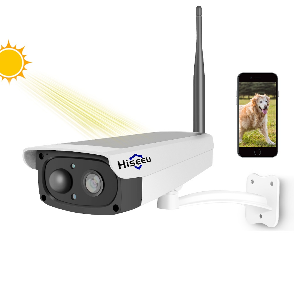 Hiseeu 1080 P caméra IP WiFi caméra de surveillance vidéo solaire batterie Rechargeable caméra de sécurité intérieure extérieure vue large