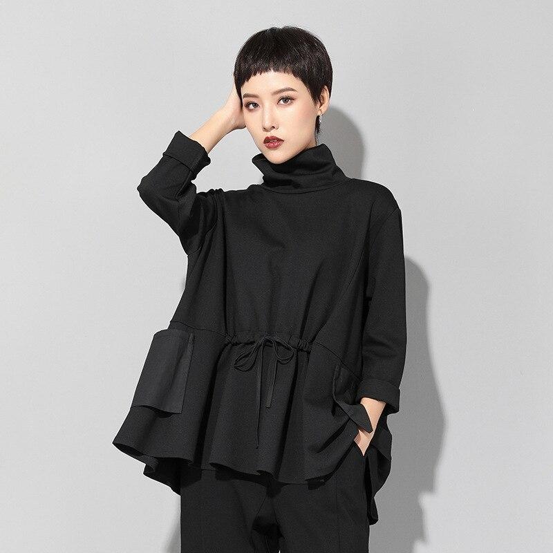 Image 3 - Max LuLu Spring Luxury European Fashion Vintage Ladies Black T  shirt Turtleneck Tops Cotton Casual Womens Long Sleeve Tee  ShirtsT-Shirts