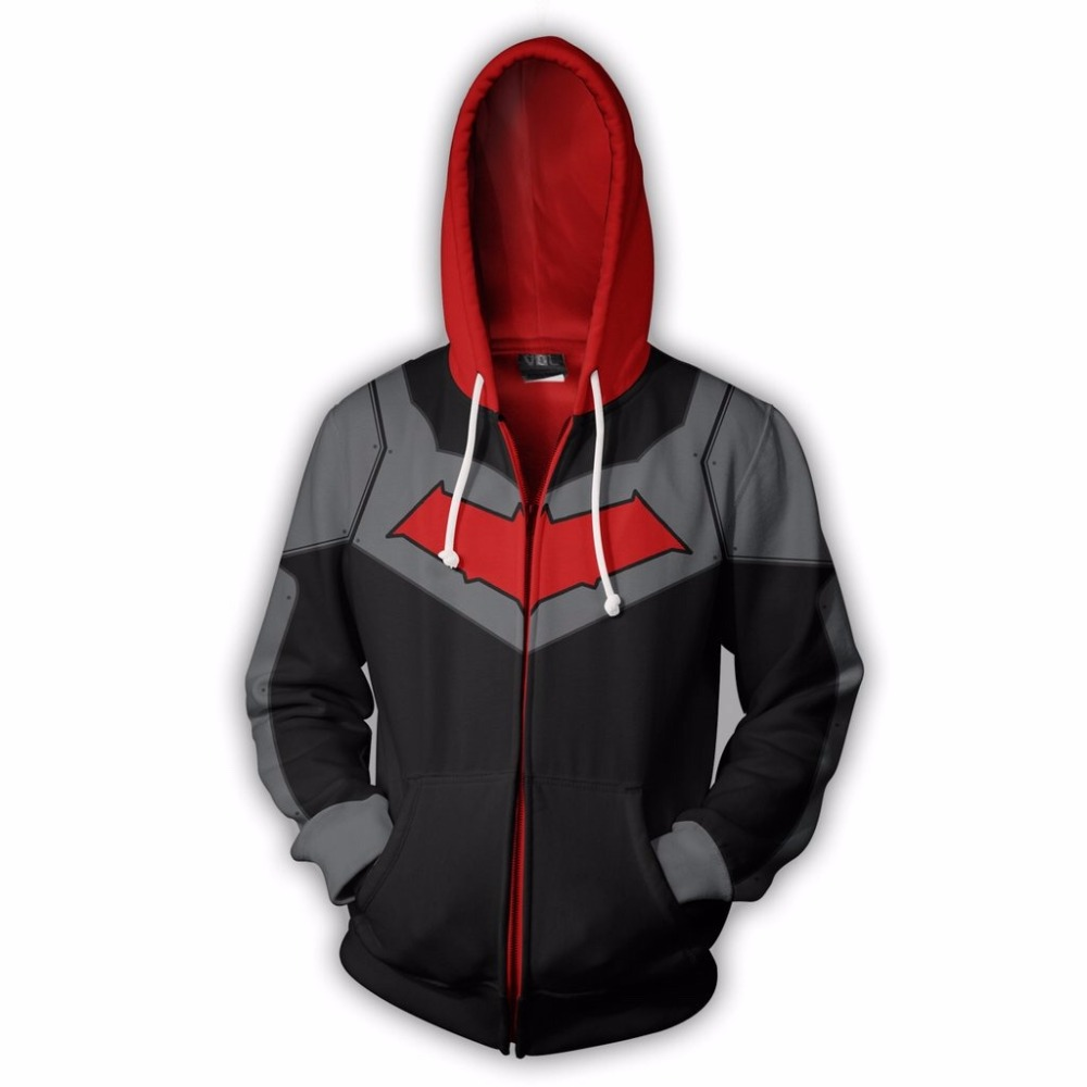 2019 New Men Hooded Red Hood Zip Up Hoodie 3d Printed Hoodies Casual Tracksuit Zipper Hoodie Hooded Us Size Hip Hop Tops