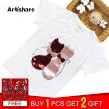 d6f75a3d9 Camisetas para niñas lentejuelas T camisa chicas gato de dibujos animados niños  camiseta de verano adolescente