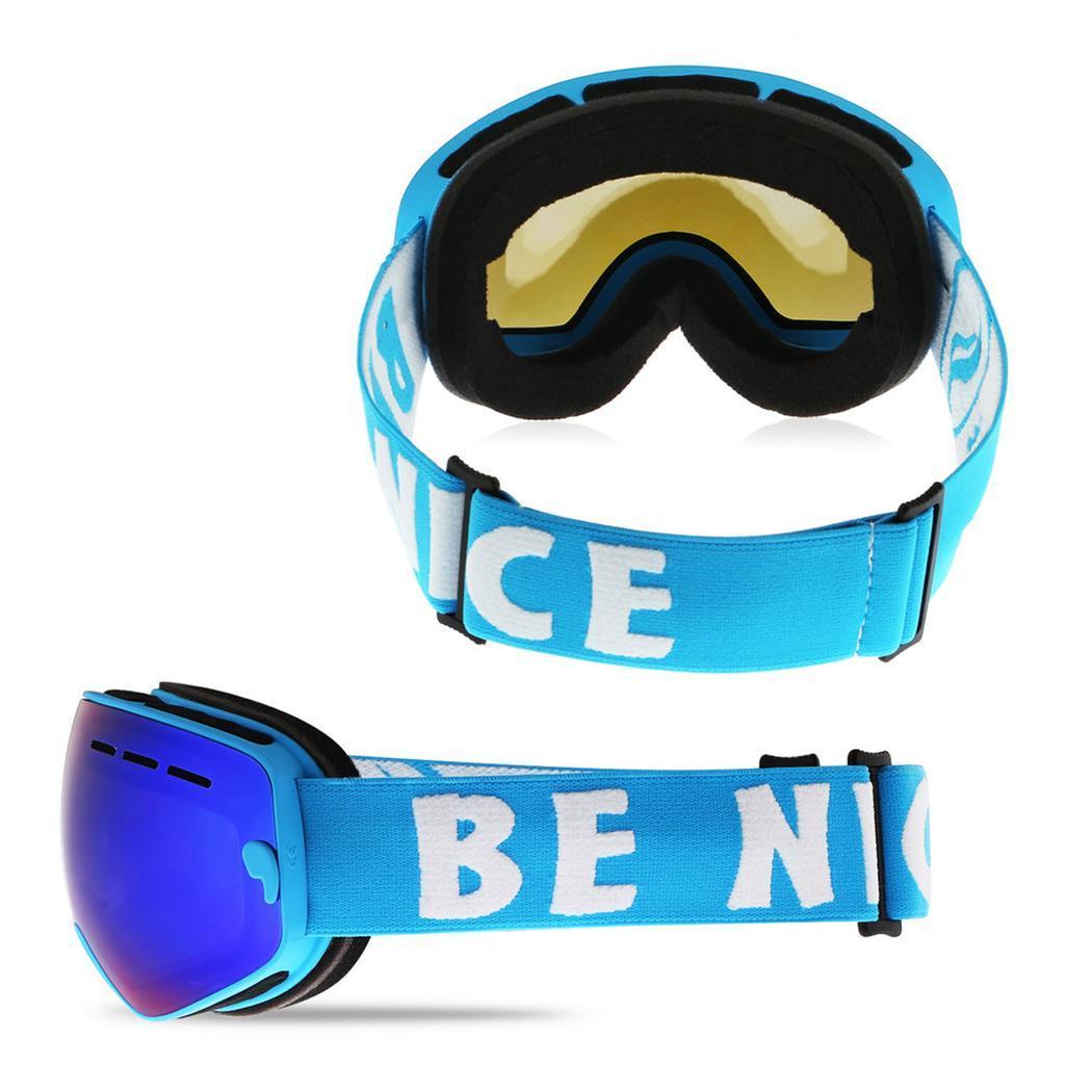 Lunettes de Ski de neige durables pour enfants avec sac PE Double lentille Anti-buée masque coupe-vent lunettes chaudes enfant hiver Ski passe-temps cadeau - 4