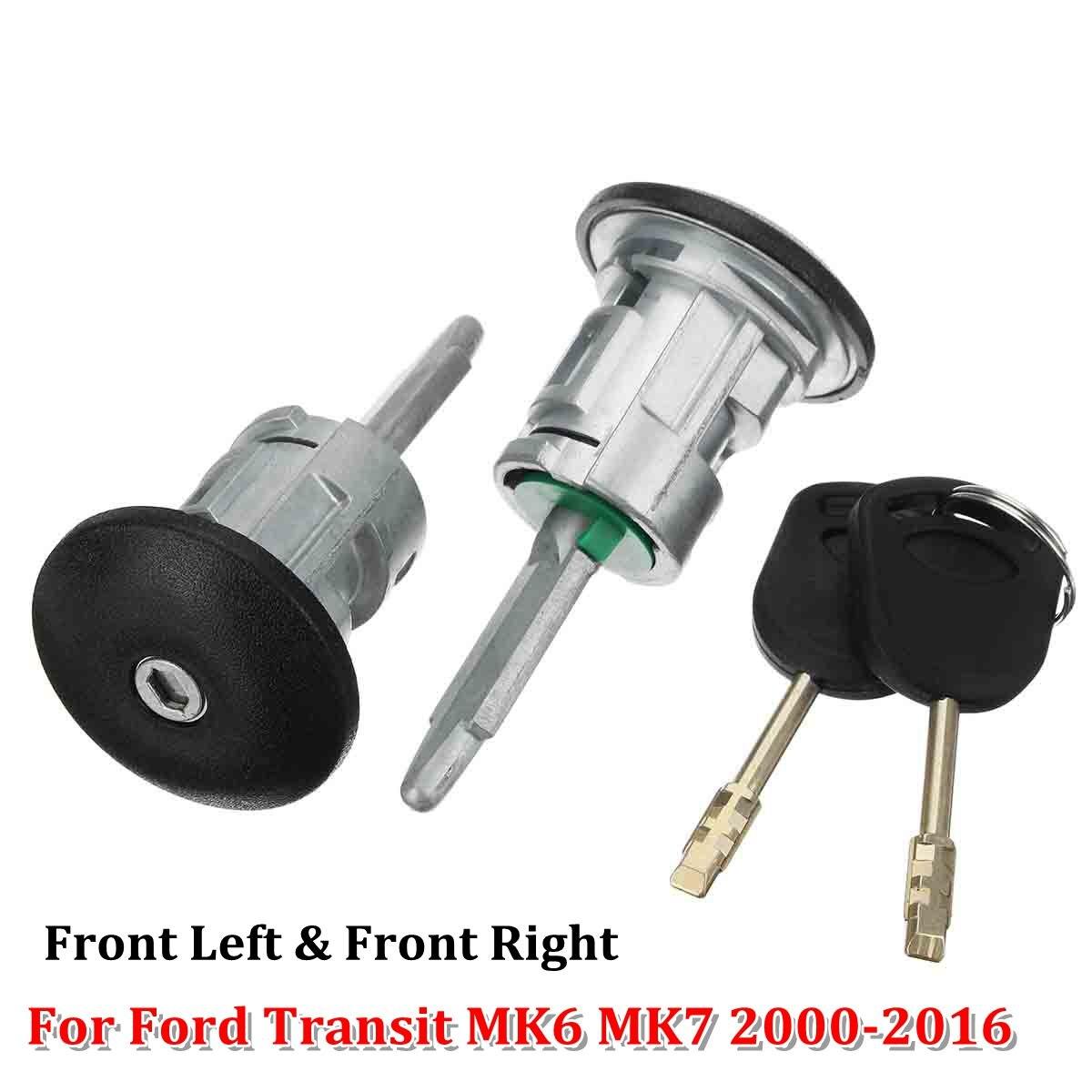 2pcs Car Front Left & Right Door Lock Barrels 2 Keys For Ford Transit MK6 MK7 2000-2016 060638 YC15-V220K51AA 4060639 YC15-V22