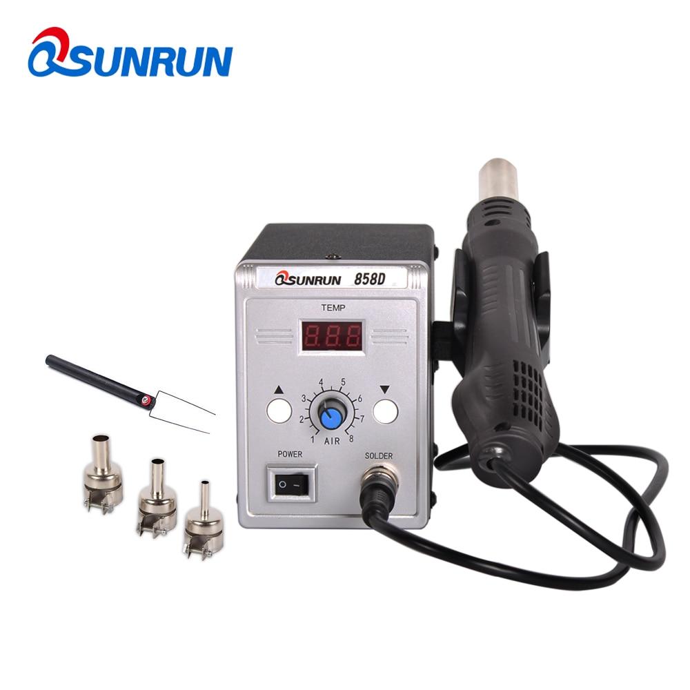 Qsunrun 700W 858D BGA Rework Station Digital LED Display 858D Soldering Station SMD Hot Air Welding for SOIC CHIP QFP PLCC