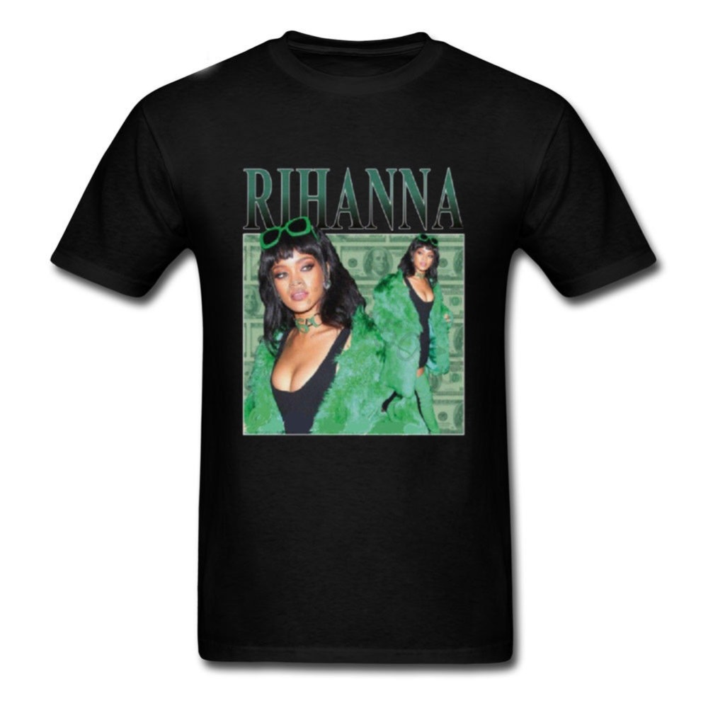 Hot Sale New 2019 Summer Fashion T Shirts Rihanna T-Shirt Men 100% Cotton Black Pop  Men's Tshirt Tee Size S To 3XL Streetwear