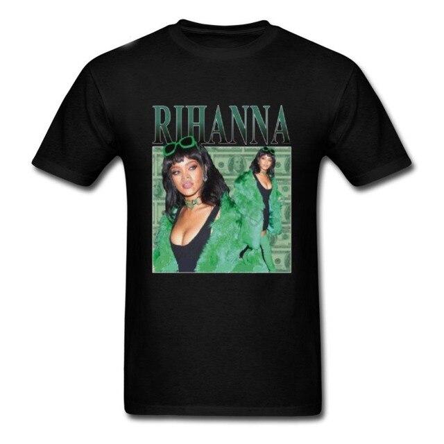 Hot sale New 2019 Summer Fashion T Shirts Rihanna T-Shirt men 100% cotton Black pop  Men's Tshirt Tee Size S to 3XL streetwear