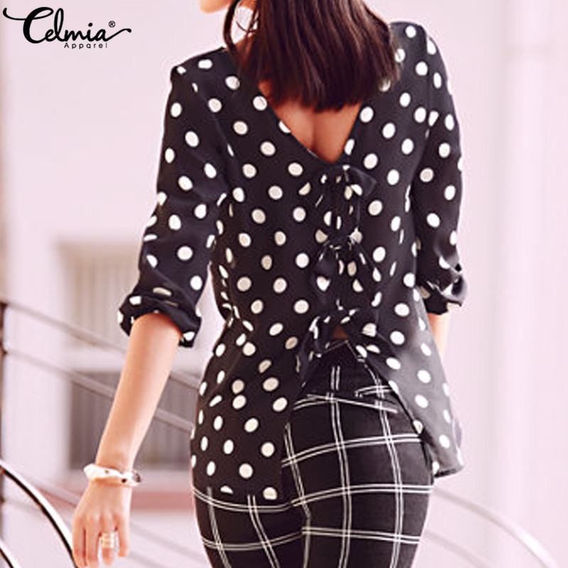 Celmia Plus Size Blusas Mujer 2018 Summer Women Split Blouse Black Polka Dot Print Shirt Sexy Backless Bowknot Casual Loose Tops