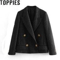 2018 Winter England Style Women Woolen Blazer Golden Metallic Buttons Women Tweed Blazers And Jackets Jaqueta Feminina