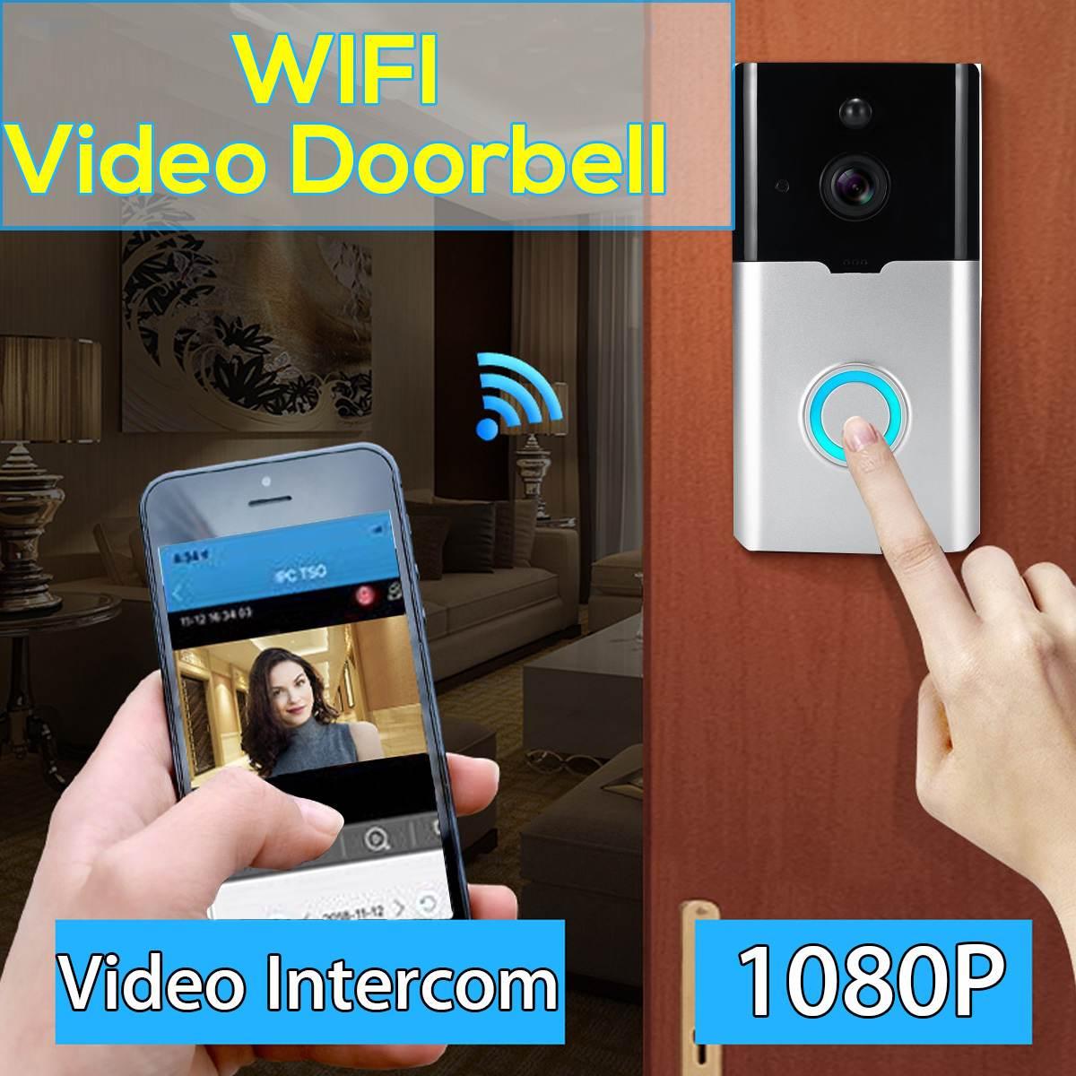 Smart WiFi Video Doorbell Wireless 1080P HD Camera Night Vison Security Door Bell for Alarm Burglarizing + 2 x 18650 BatteriesSmart WiFi Video Doorbell Wireless 1080P HD Camera Night Vison Security Door Bell for Alarm Burglarizing + 2 x 18650 Batteries